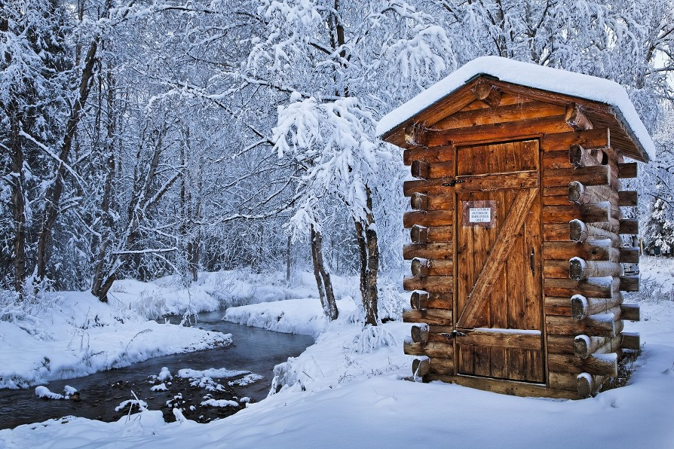 Outhouse at Chena Hot Springs in Alaska