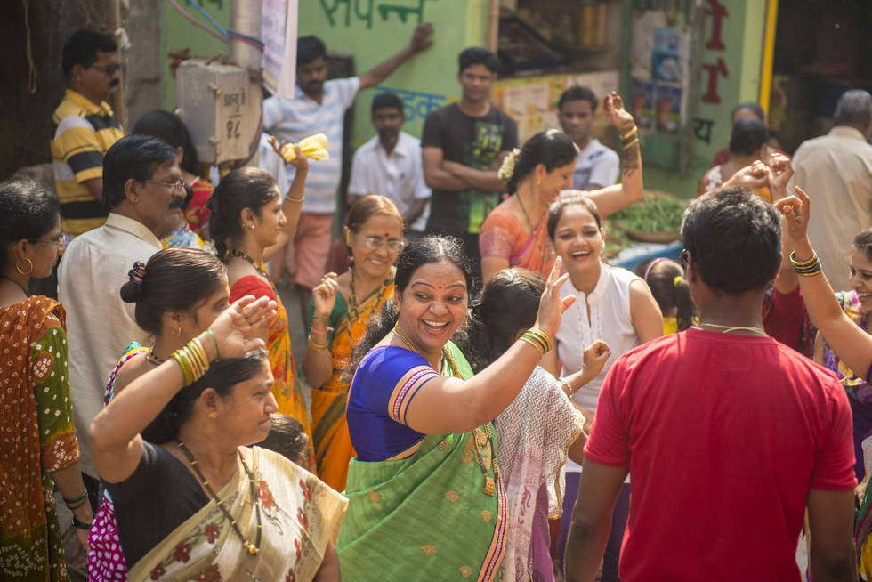 A wedding celebration in a fishing village in western Mumbai