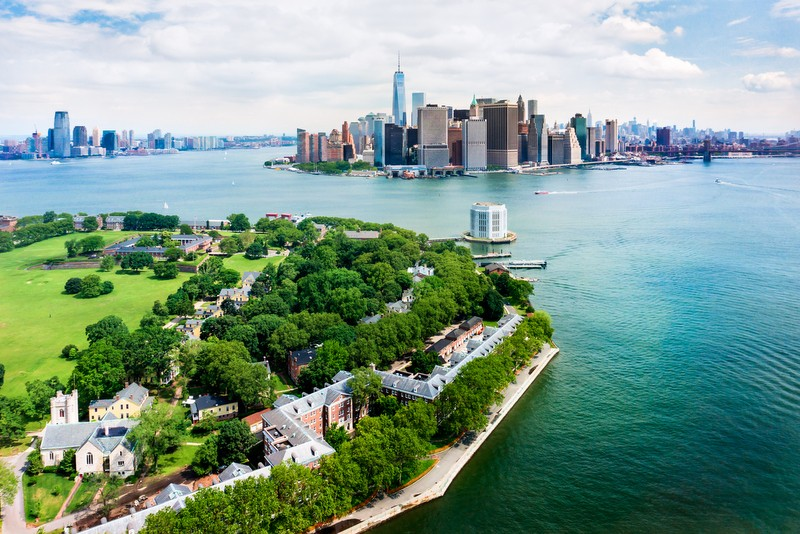 Aerial View of New York City and Governors Island