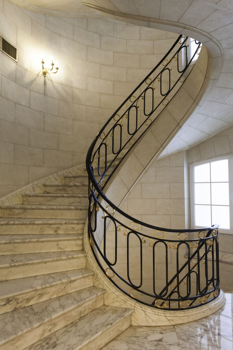 The winding marble staircase at the Alvear Palace Hotel