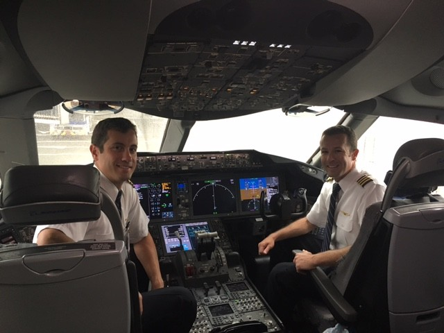 Both brothers flying together as pilot and co-pilot