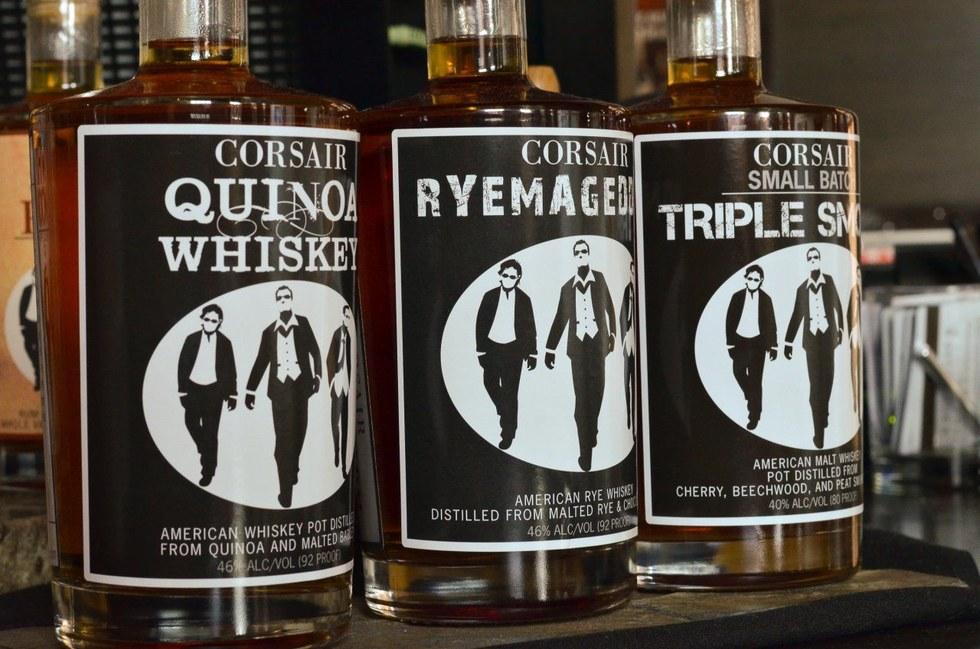 Whiskey bottles from Corsair Distillery