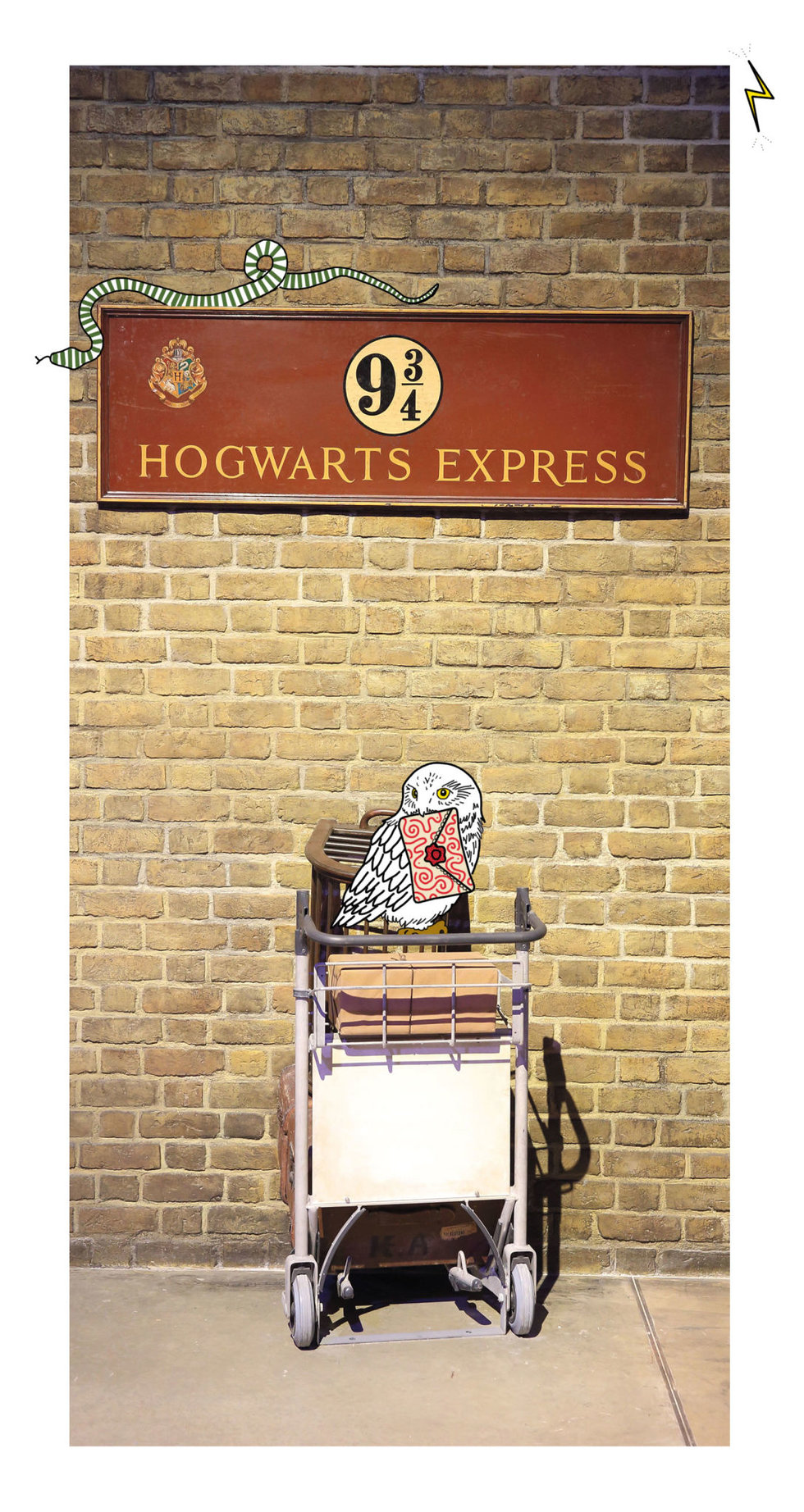 Illustration of platform 9 3/4 from the beloved Harry Potter movie