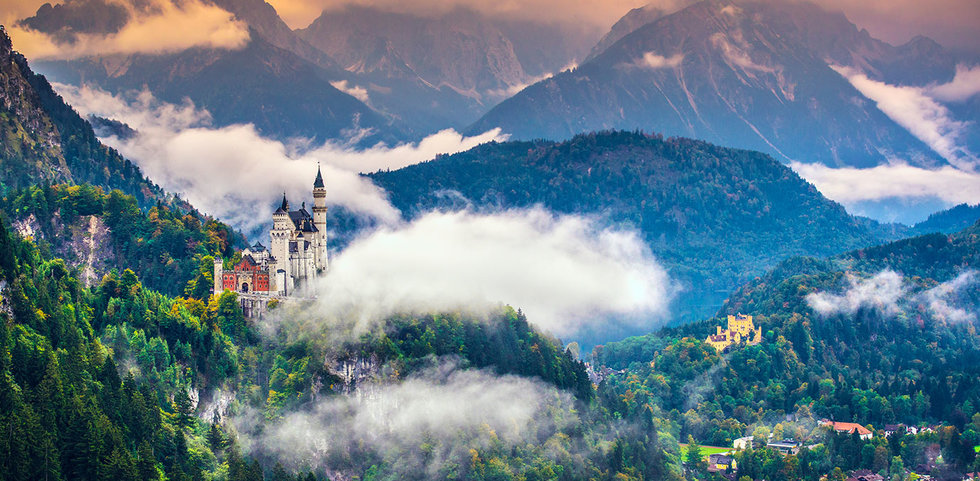 Aerial view of the Neuschwanstein Castle in Germany