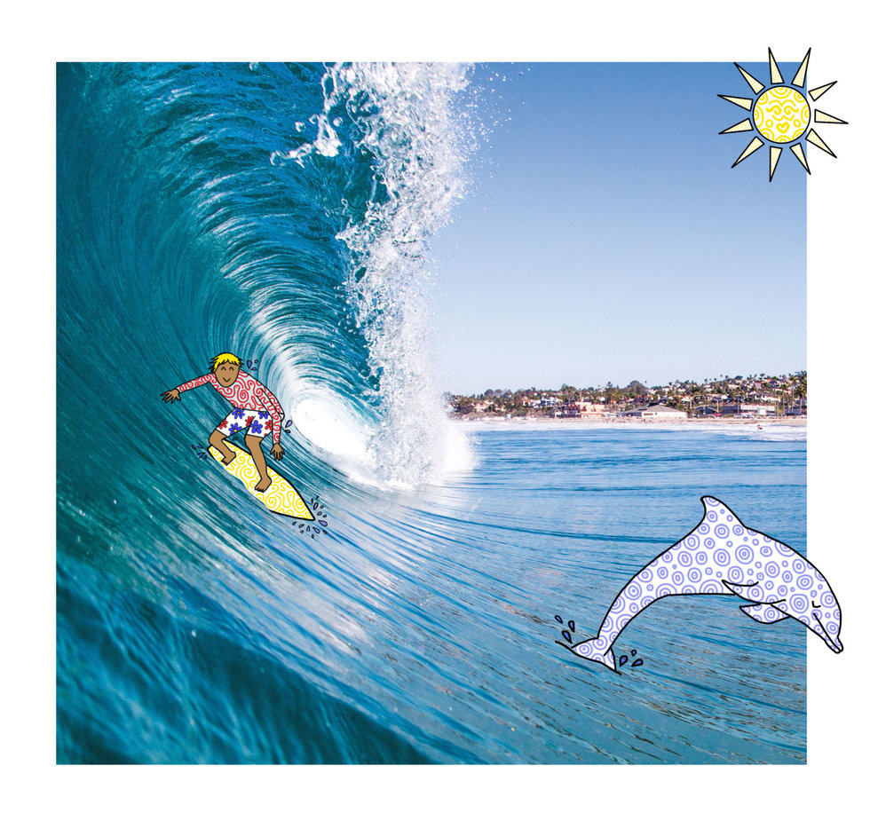 Illustration of surfer hitting the waves