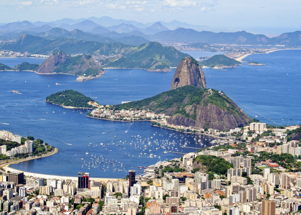 An aerial shot of Rio de Janeiro in Brazil.