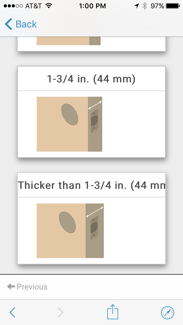 Select Thickness of Your Door