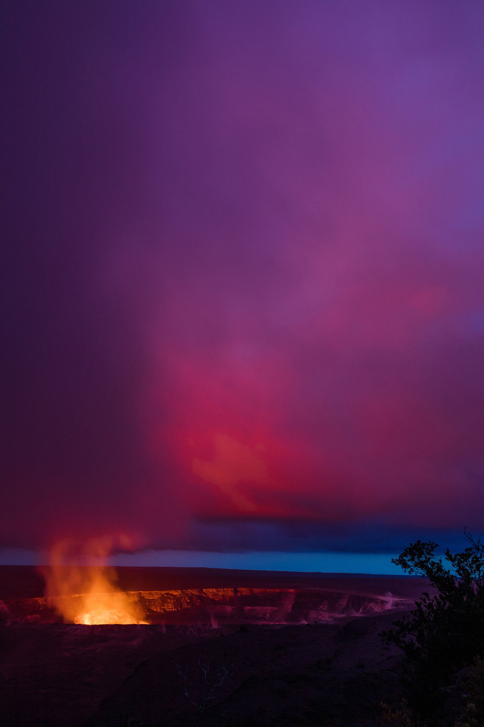 A lava lake at Halema'uma'u Crater in Hawaii Volcanoes National Park
