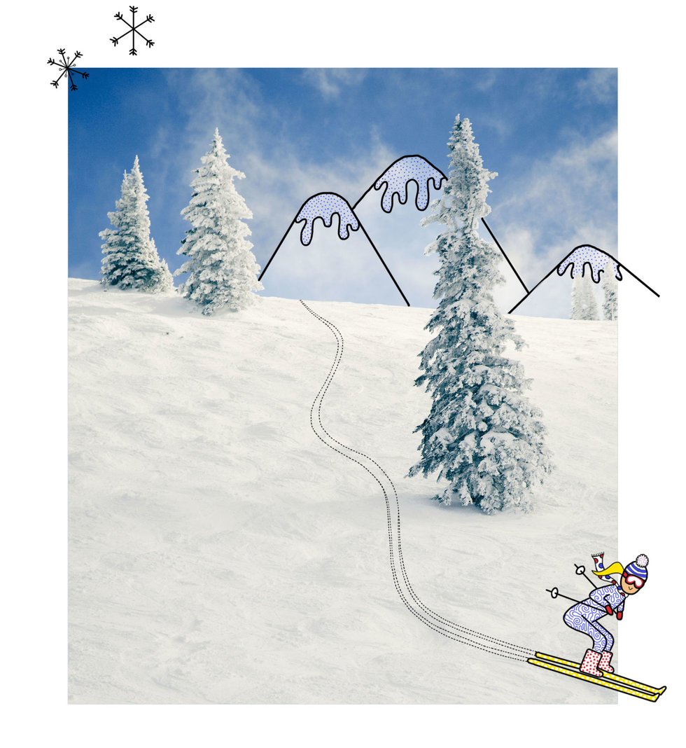 Illustration of skier going down a mountain slope