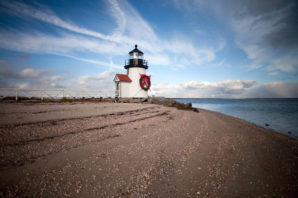 Nantucket's Brant Point Lighthouse decorated for the holidays