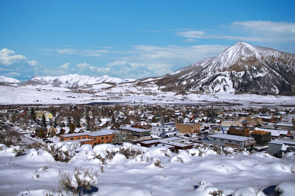 Aerial view of the town in Crested Butte Mountain, Colorado