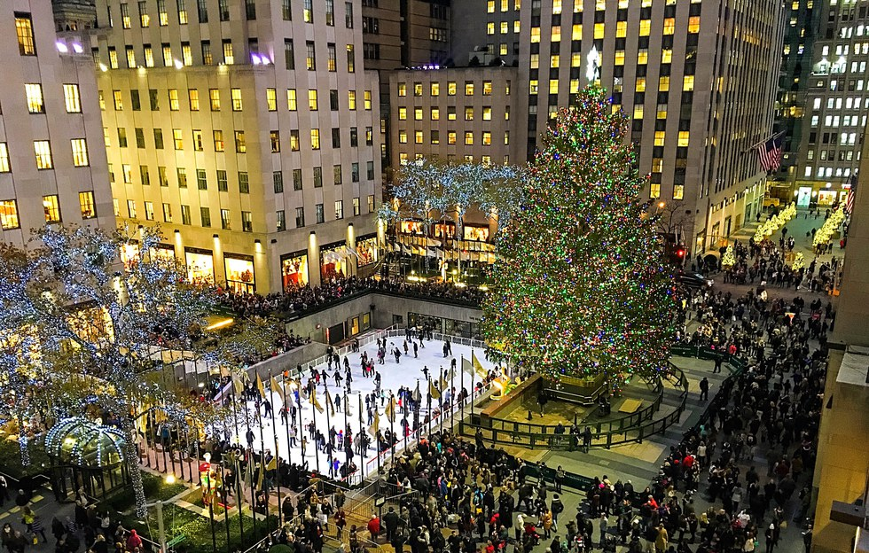Rockefeller Center in NYC at Christmas time.