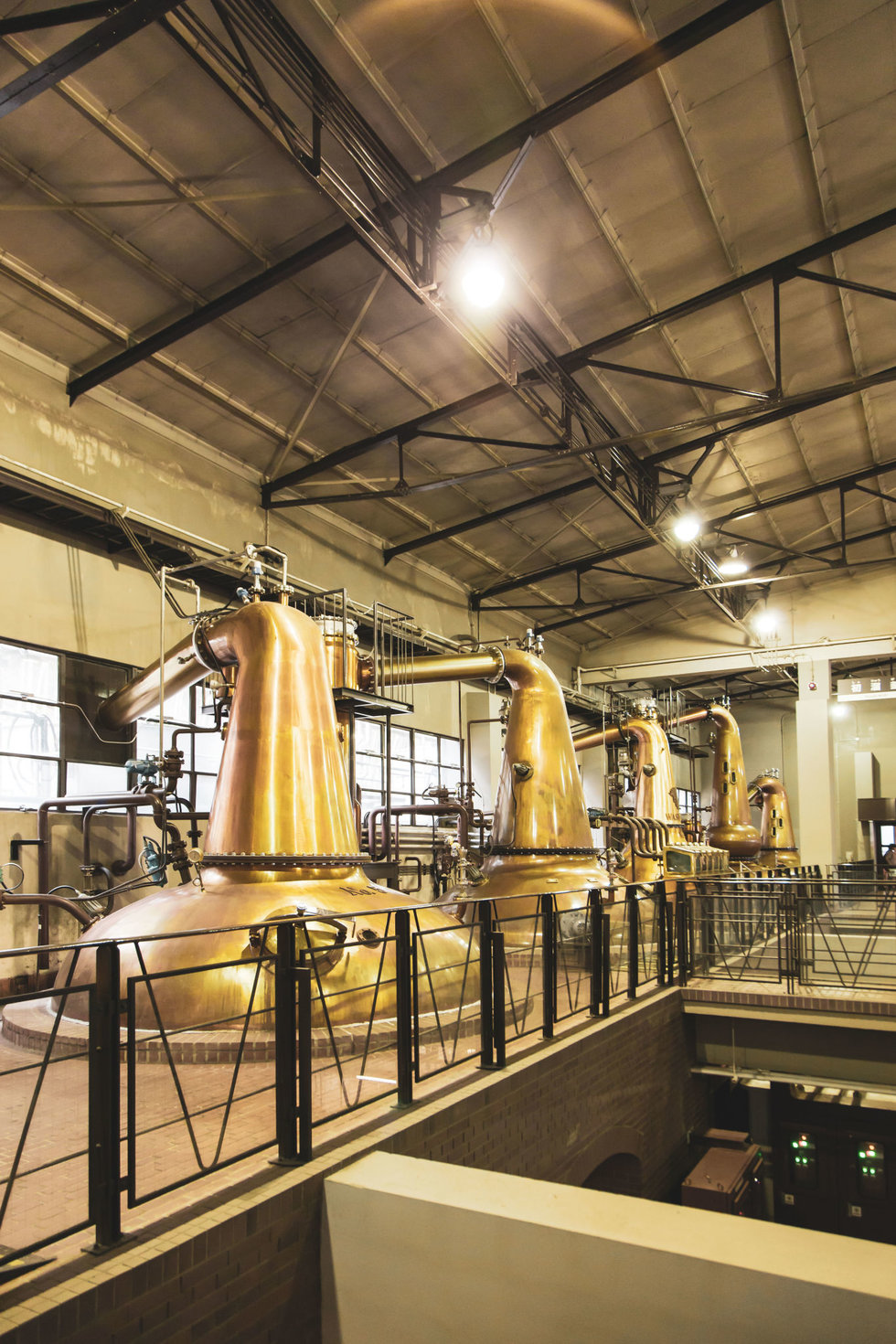Copper pot stills at the Yamazaki Distillery