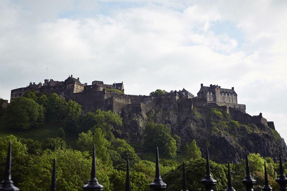 Edinburgh Castle looming over the city