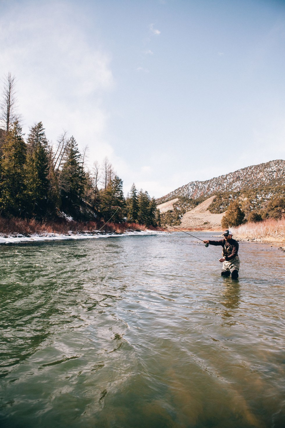 Mike Geisler of Gore Creek Fly Fisherman casts into the Colorado River