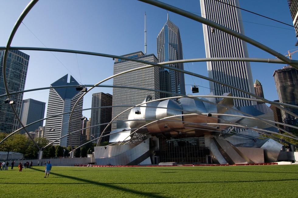 View of Millennium Park's Jay Pritzker Pavilion in Chicago