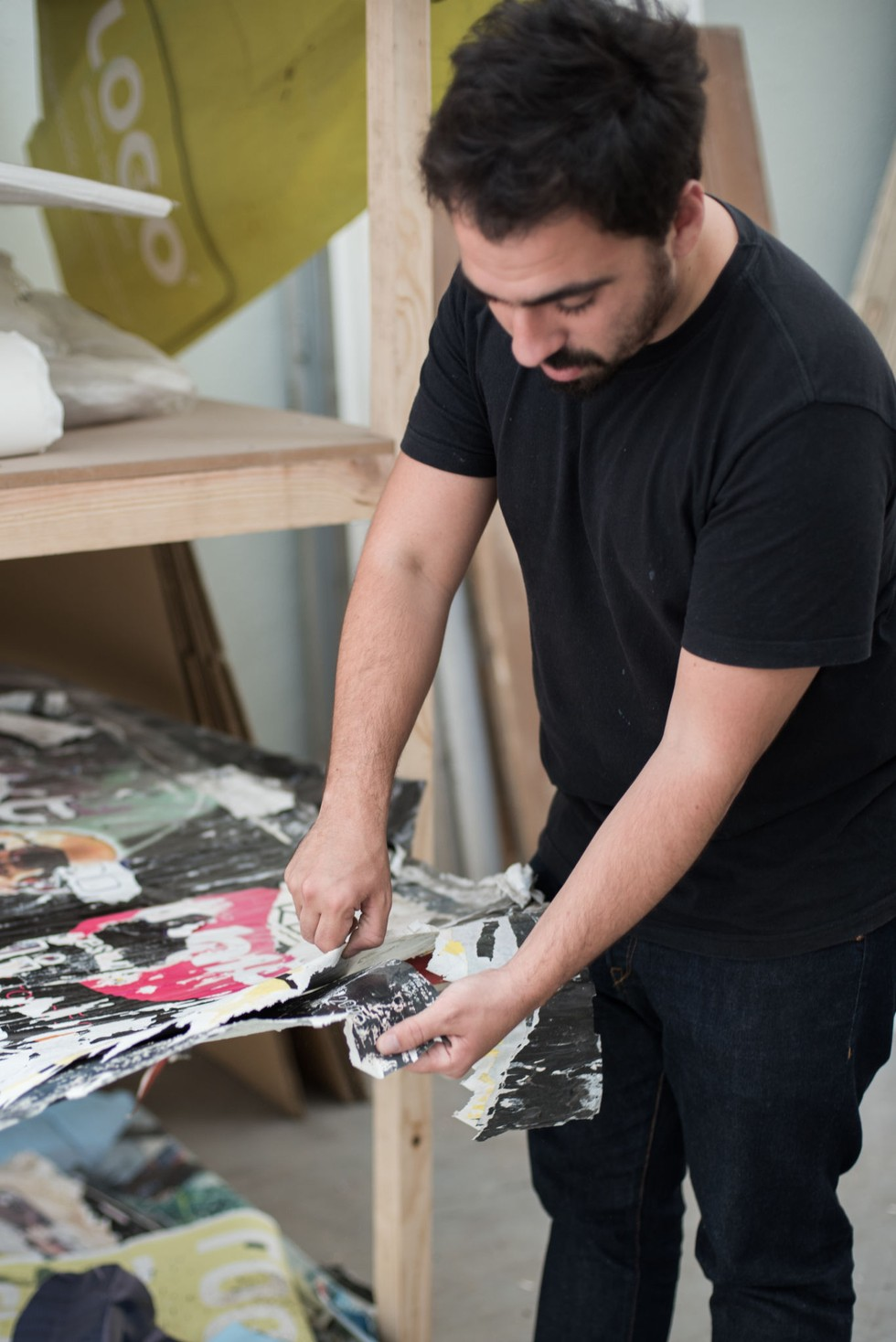 Vhils at work in his Barreiro studio