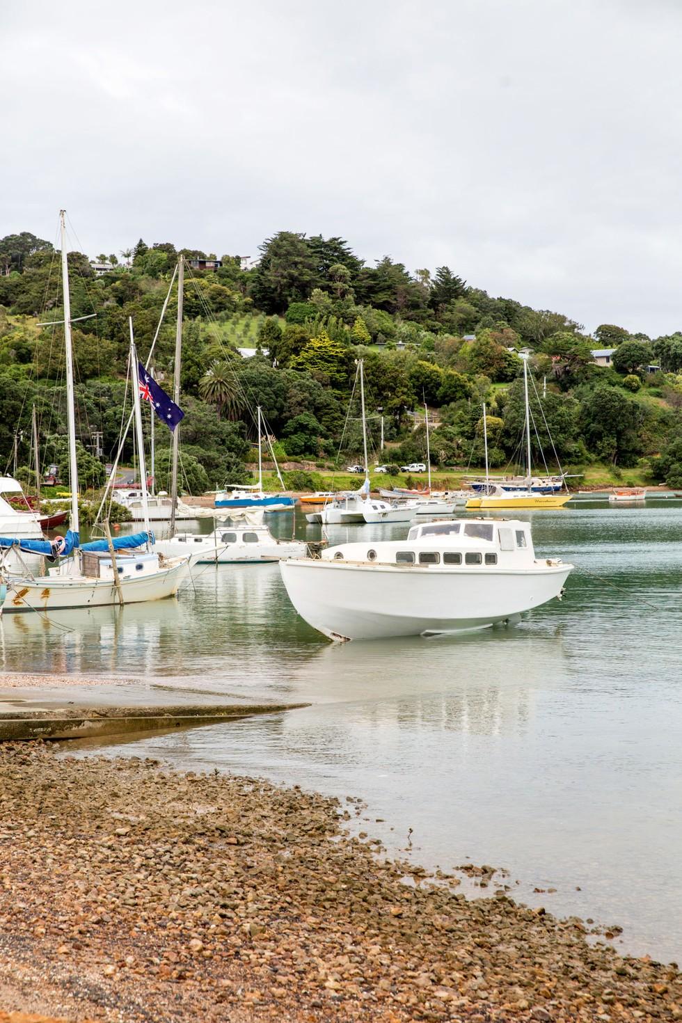 A boat-filled harbor on Waiheke Island