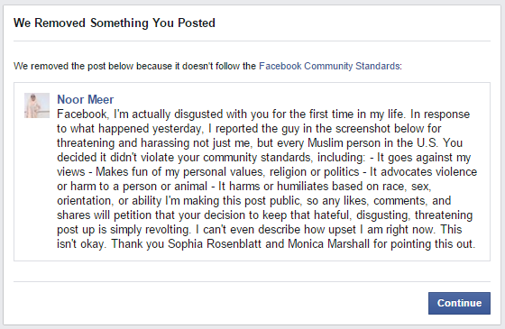 I Spoke Out Against Islamophobia And Facebook Removed My Post