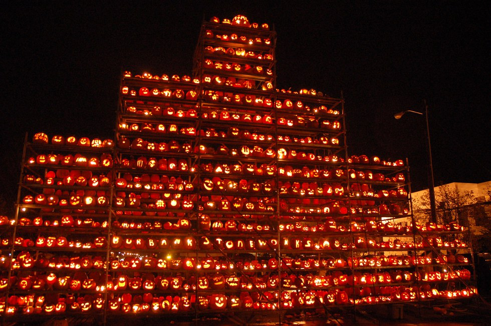 Thousands of pumpkins stacked up at the New Hampshire Pumpkin Festival