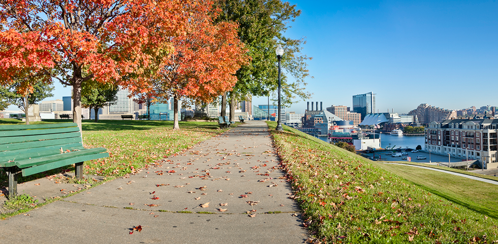 Pathway in a park in Baltimore, Maryland