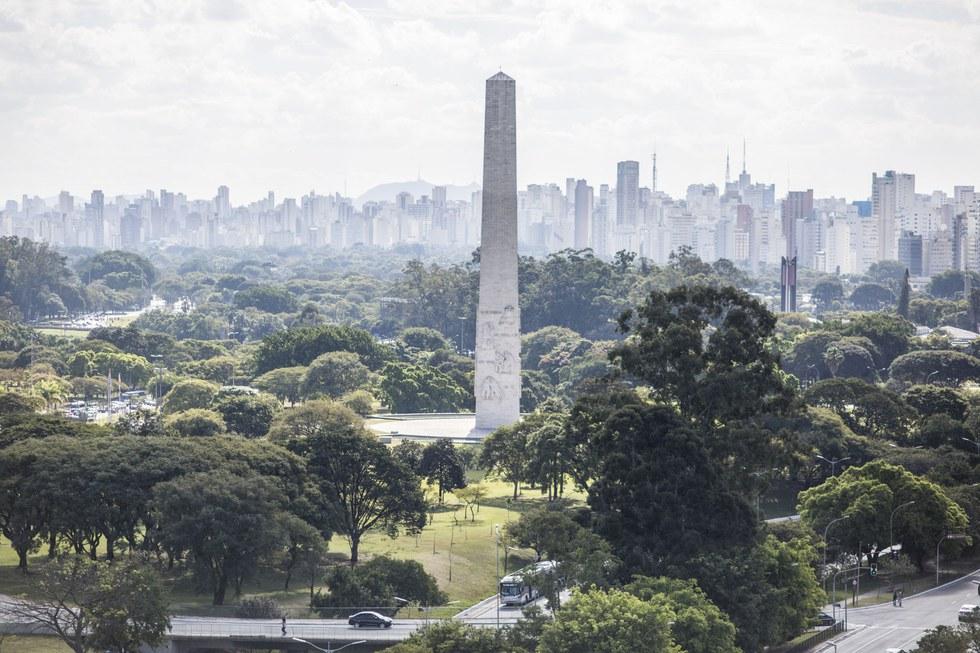 An obelisk in Parque Ibirapuera
