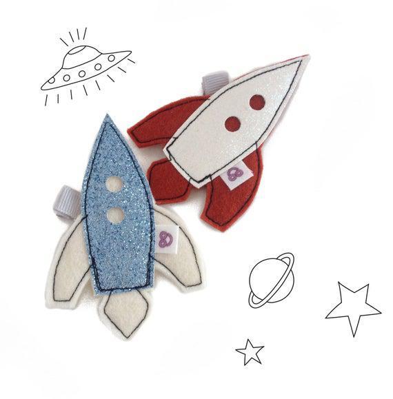 Glitter spaceship hair clips