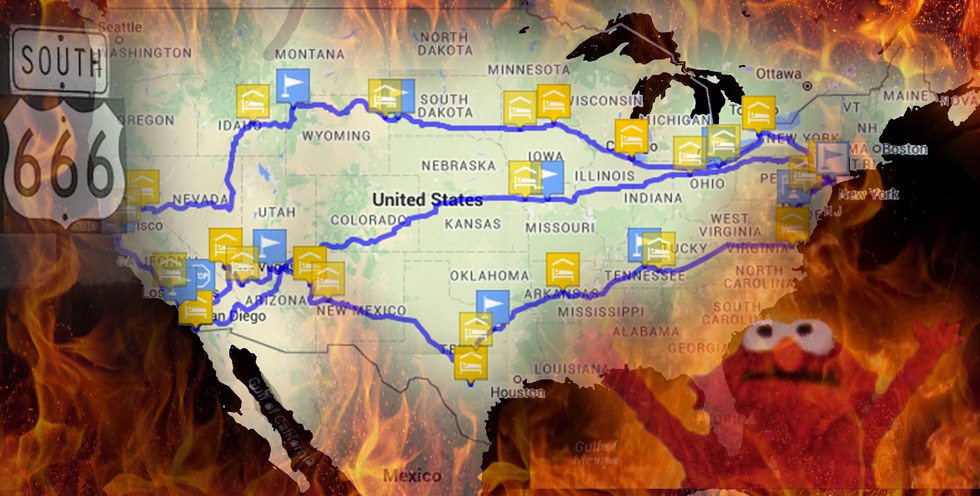 The AntiRoadTrip Road Trip Map The Worst Possible Trek Across - Best maps for us road trips