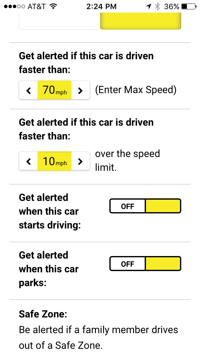 Setup alerts while car is moving or parked.