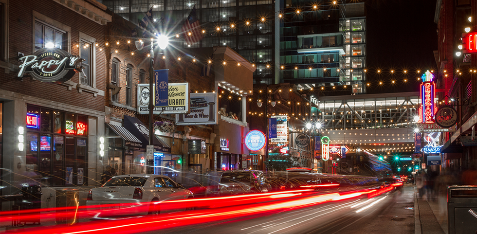 Busy nightlife on a street in Detroit, Michigan.
