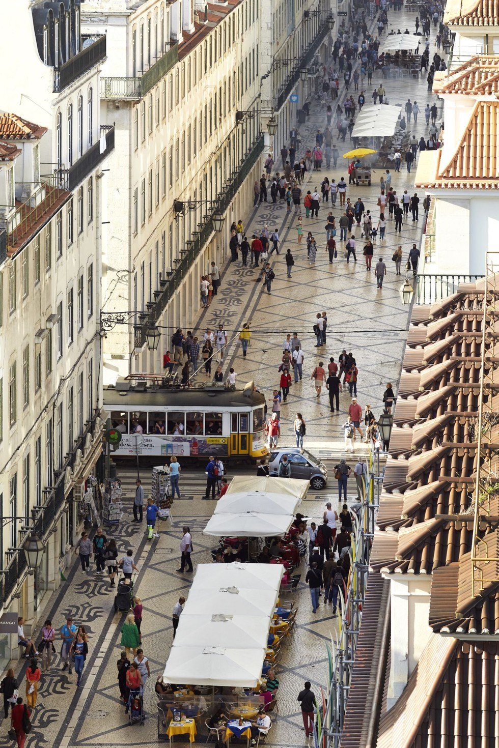 The aerial view of a busy street in Lisbon