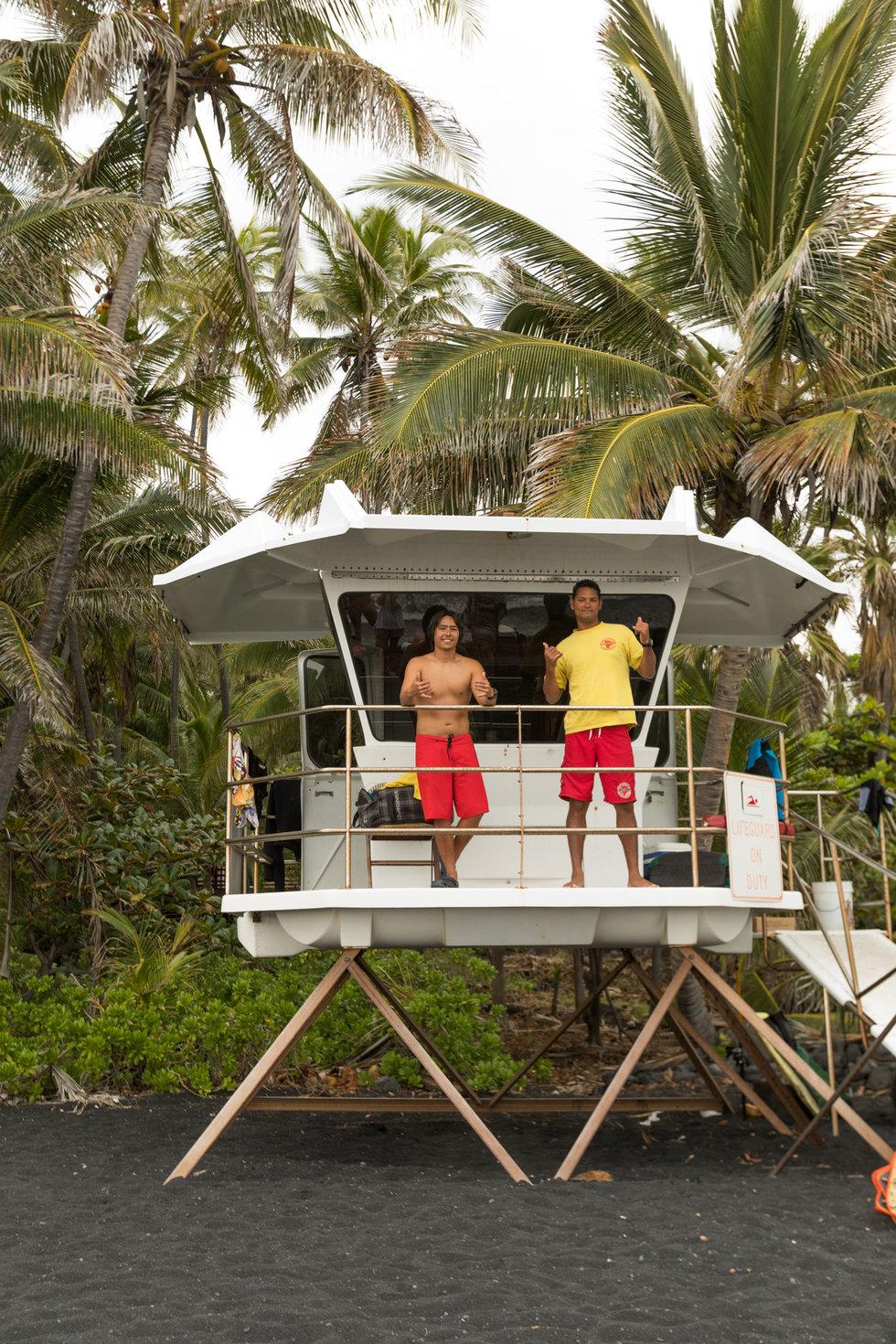 Lifeguards at Punalu'u black-sand beach