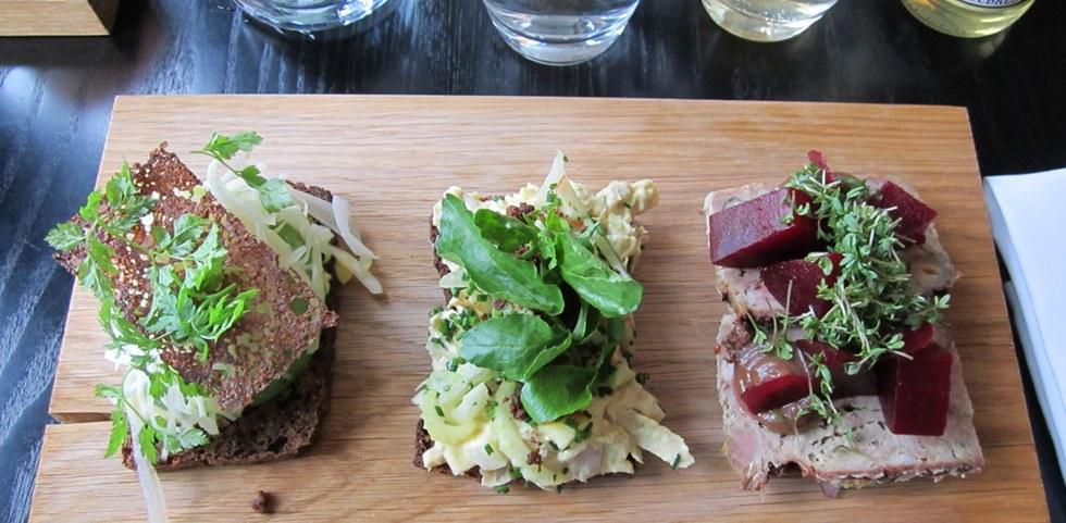 Open faced Danish sandwiches in Copenhagen