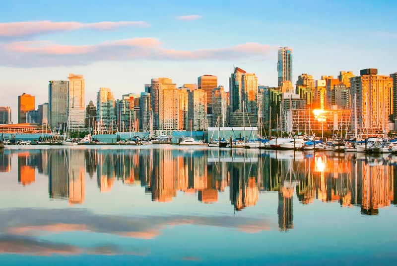 Skyline view of Vancouver at Sunset