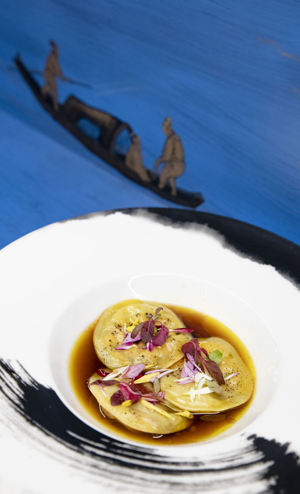 Duck foie gras ravioli at Jing