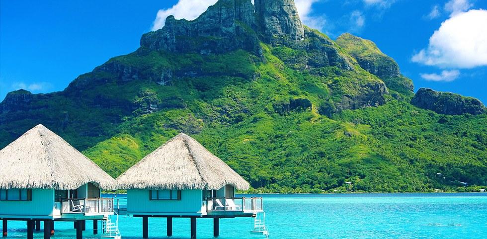 Pristine clear blue waters in Bora Bora