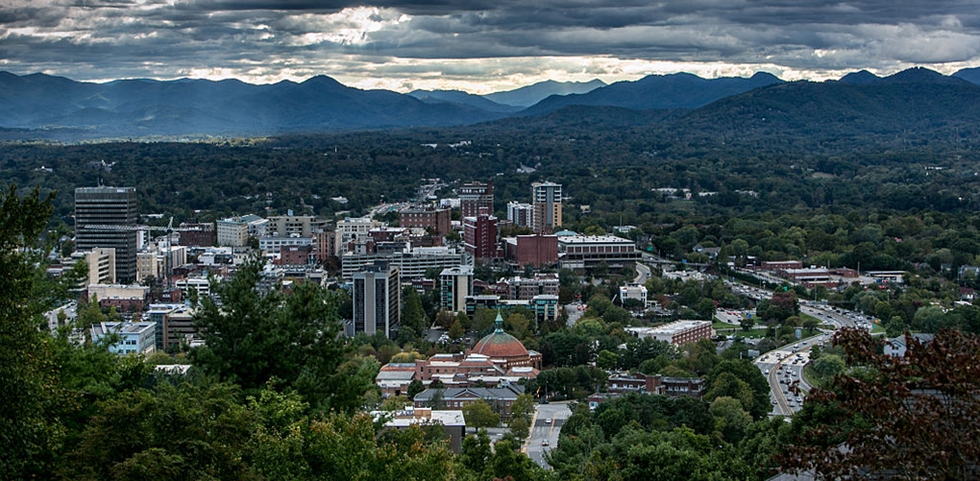 Aerial view of Asheville, North Carolina