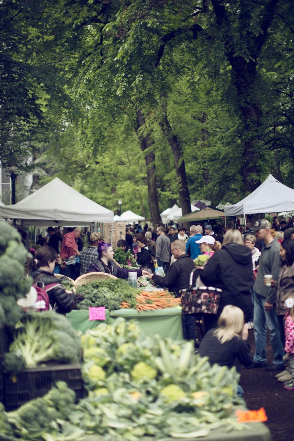 A farmers market in downtown Portland