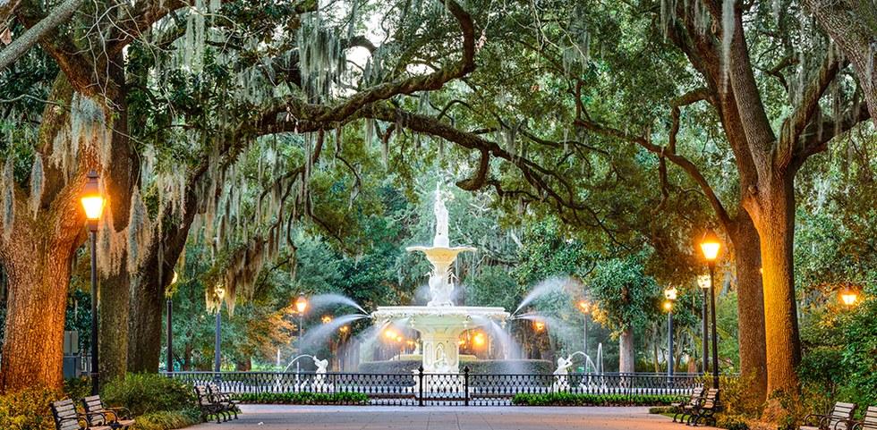 Walking the streets in Savannah, Georgia