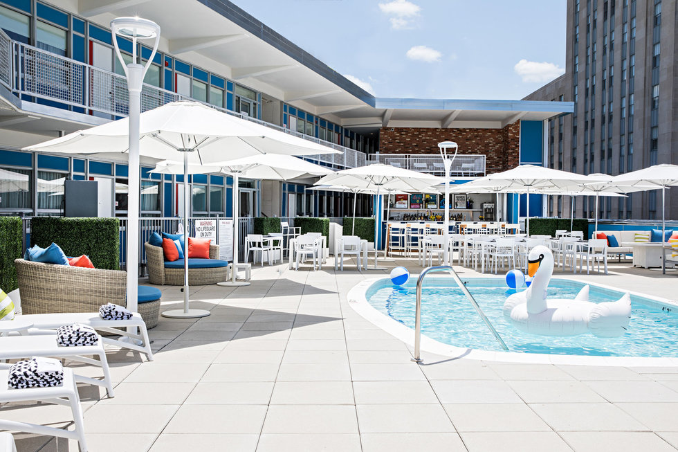 The rooftop pool at the Unscripted Durham