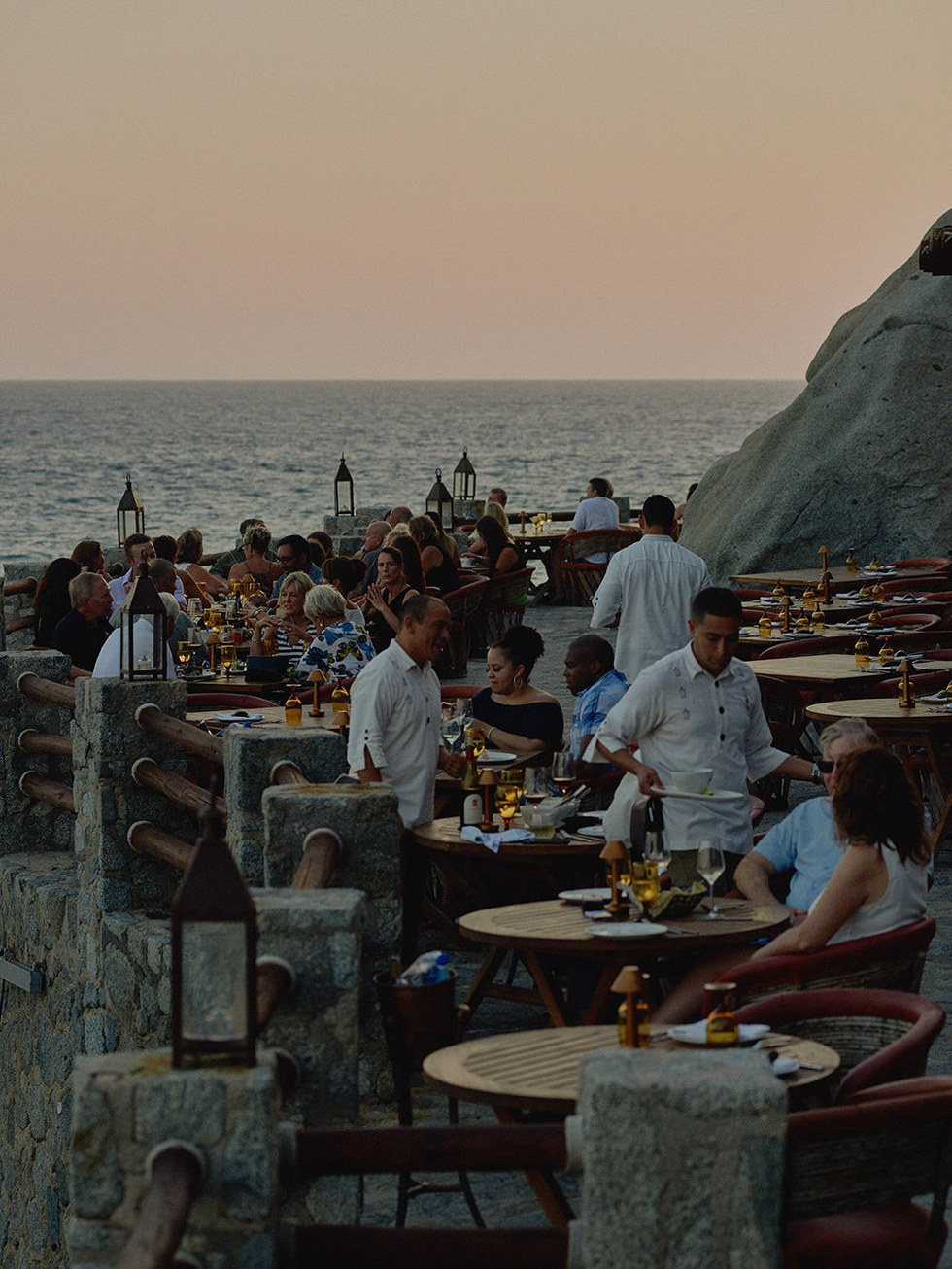 The cliffside dining terrace
