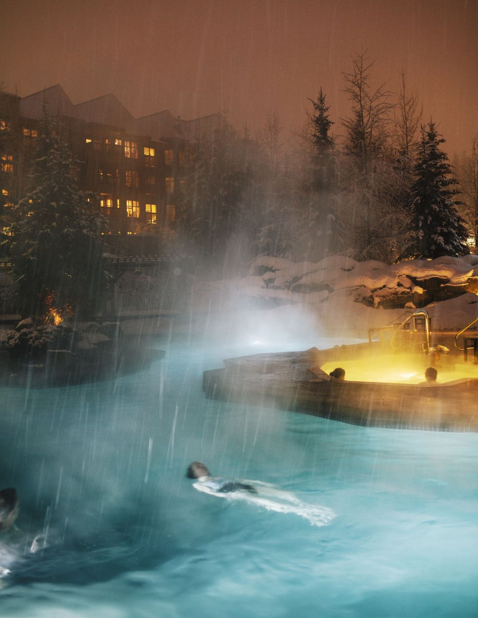 Enjoying the spa at Four Seasons Whistler