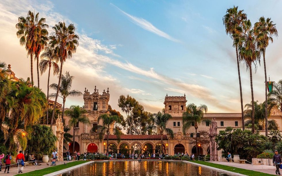 View of San Diego's Balboa park at sunset.