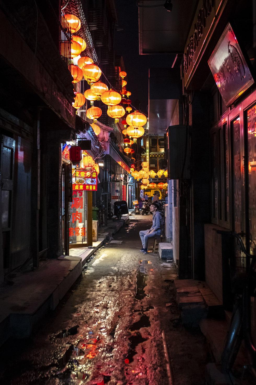 A lantern-filled back alley