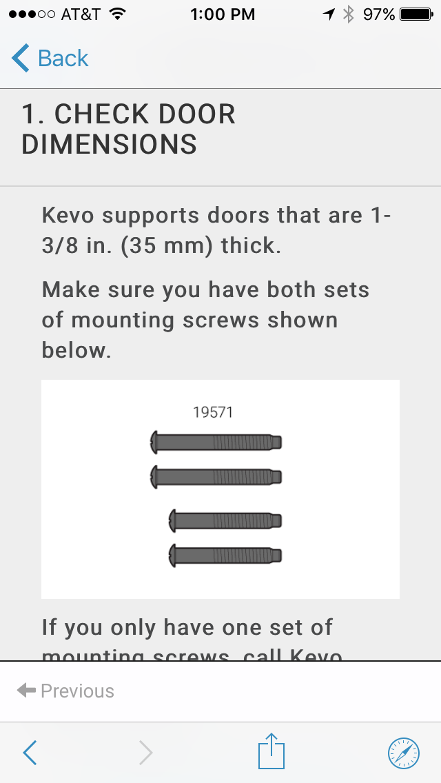 Screws to Use for Kevo Lock