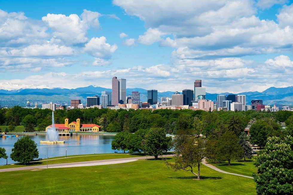 View of the skyline and City Park in Denver