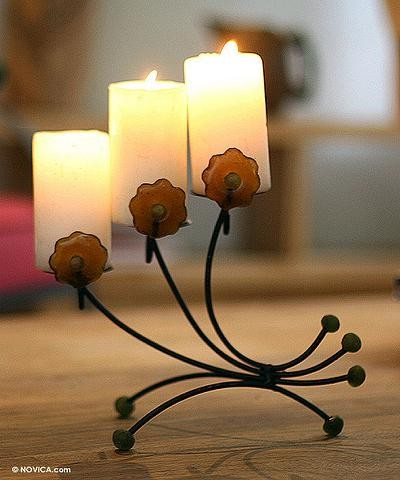 Iron and Glass Candleholder by Dan Quaynor
