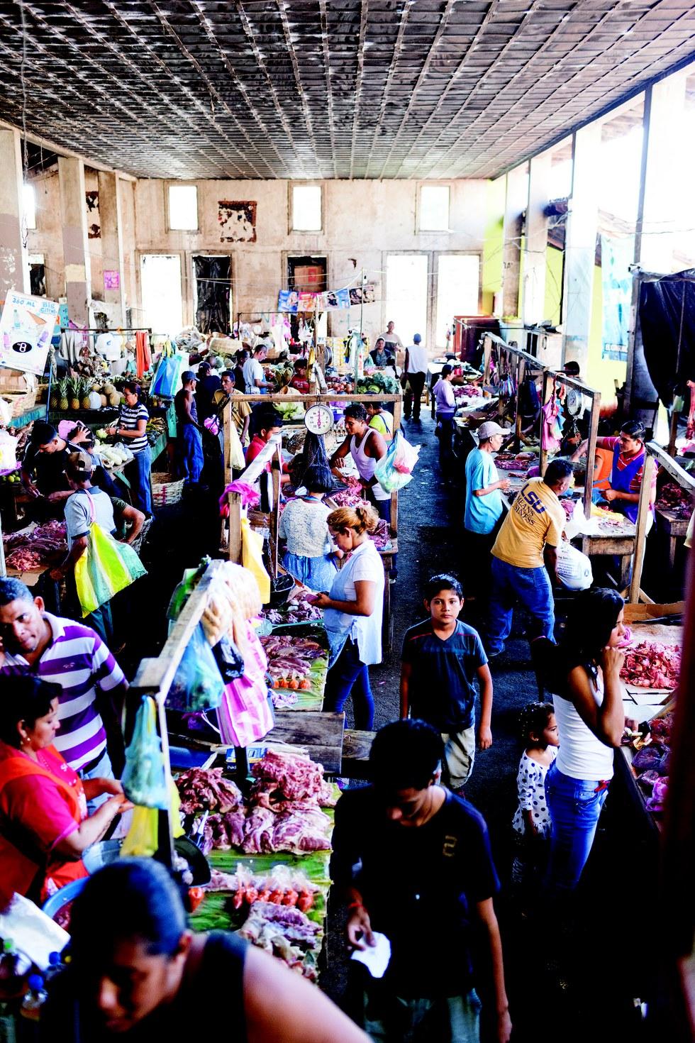 Busy market stalls