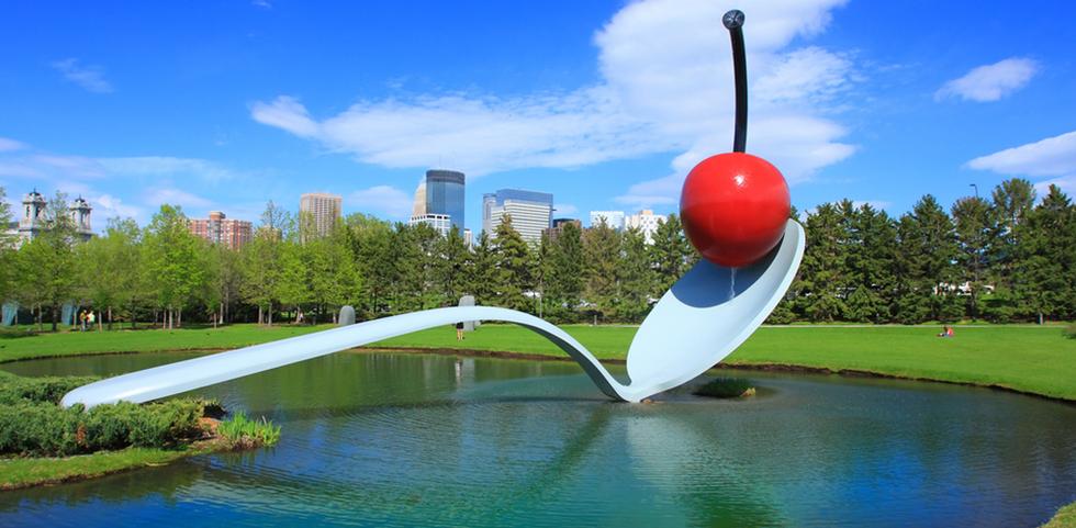 Spoonbridge and cherry sculpture in Minneapolis, Minnesota.