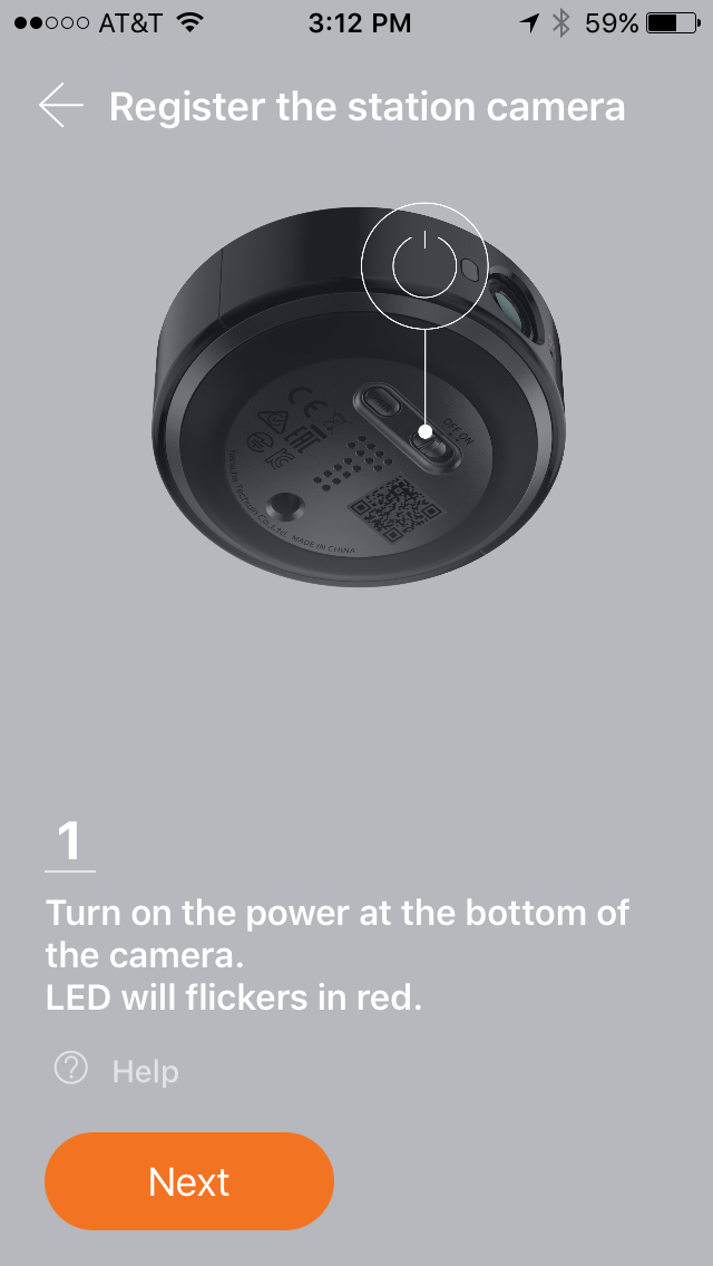 First step in registering SmartCam camera, turn on the power.